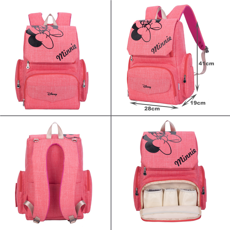 Diaper Bag Maternity Backpack Mini Mouse Mickey Mouse 4pcs/set = Baby Nappy Bag + Changing Pad +Stroller Strap + Waterproof bag