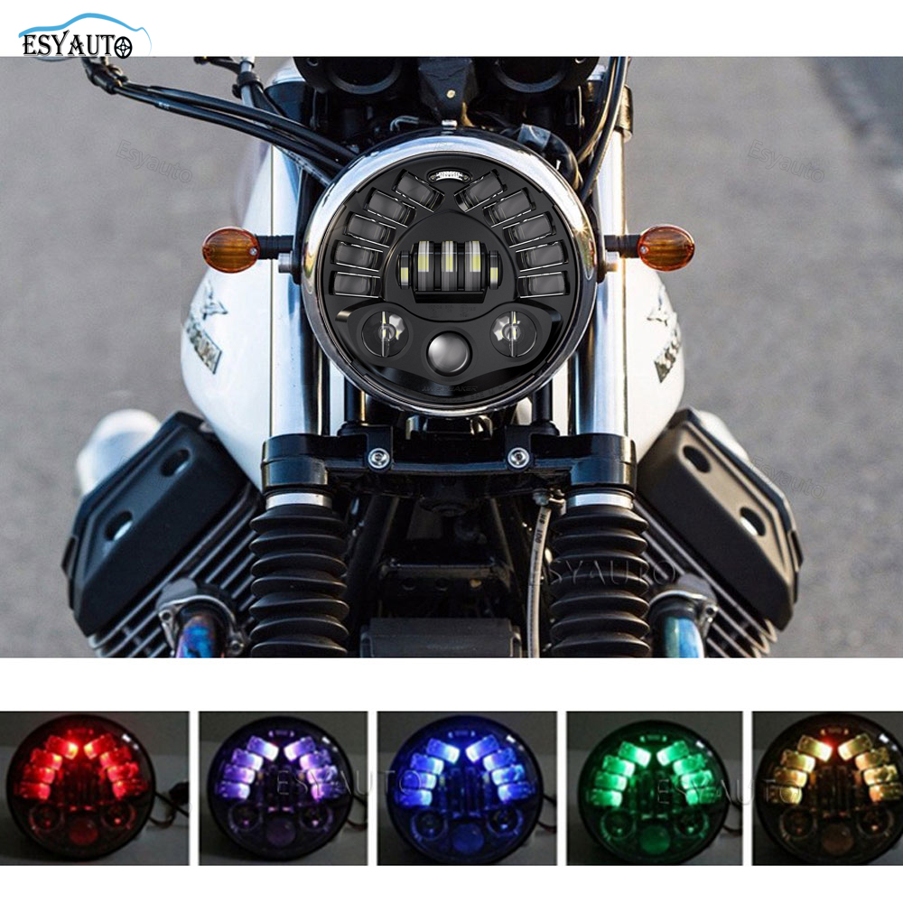 Motor 5.75 inch headlight RGB Ring LED Projection Daymaker Hi/Lo Beam Headlight DRL for Harley Davidson Motorcycles