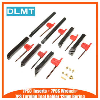 7pcs CNC Lathe Turning Tool Holder 12mm Boring Bar with Wrench for Manufacturing+7pcs Carbide Inserts High Strength Blades