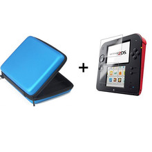 Blue EVA Protector Hard Travel Carry Case cover Pouch bag+Protective Clear Touch Seal Film Screen Guard Set for nintendo 2DS protective glossy screen protector guard set for ipod touch 5 2 pcs
