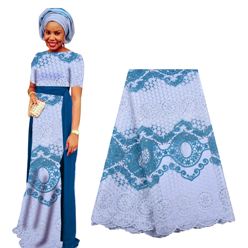 Best Selling African Lace Fabric 2019 High Quality Nigerian French Lace Fabric With Stones Embroidery Tulle Lace For Wedding