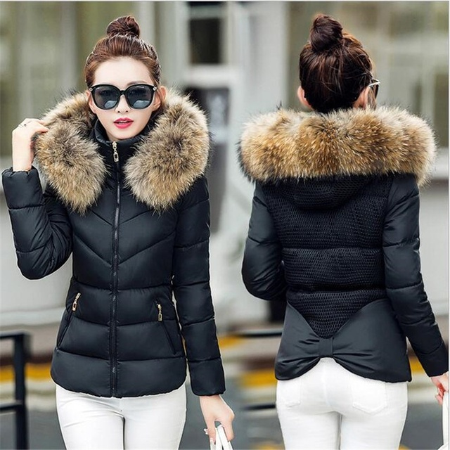 ea02b793bcc5 Women Winter Jacket Fur Collar Hooded basic Jacket Cotton Padded Female  Warm Slim Short Black Coats & Jackets Outwear DNHJ633
