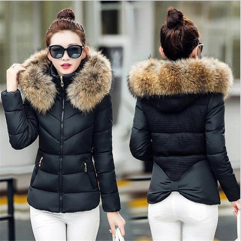 Women Winter   Jacket   Fur Collar Hooded   basic     Jacket   Cotton Padded Female Warm Slim Short Black Coats &   Jackets   Outwear DNHJ633