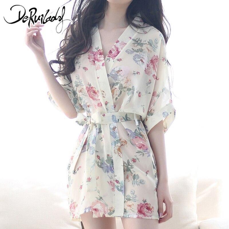 DeRuiLaDy Fashion Summer Rayon Silk   Nightgown   Exquisite Printing   Sleepshirt   Belt Slim Sleepwear Pijama Flower Sexy Lingerie