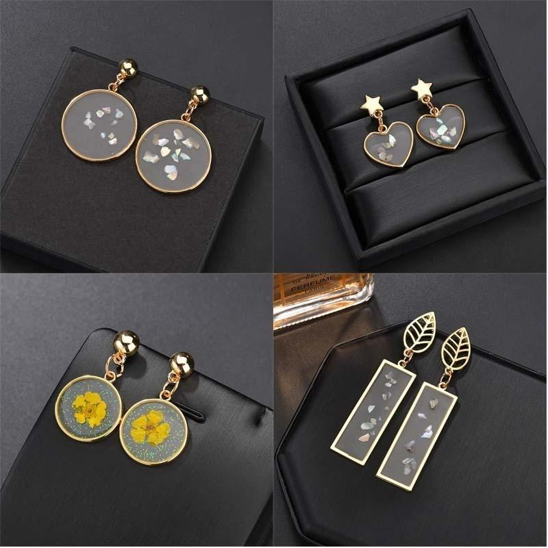 Double-sided Simple Geometric Earrings Transparent Resin Dried Flower Earrings Round Long Strip Earrings Fashion Charm Jewelry