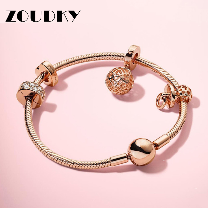 2018 New 100% 925 Sterling Silver Rose Moments Smooth Bracelet Set Pacifier Hanging Charm Fit DIY Original Charm Jewelry Gift2018 New 100% 925 Sterling Silver Rose Moments Smooth Bracelet Set Pacifier Hanging Charm Fit DIY Original Charm Jewelry Gift