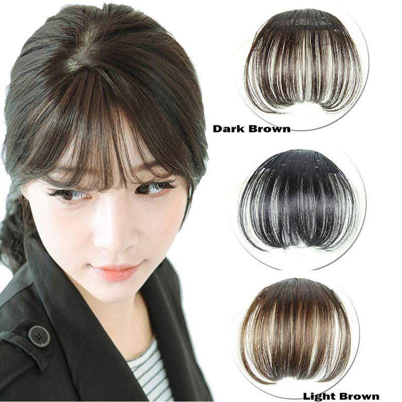 Women Clip Bangs Hair Extension Fringe Hairpieces False Synthetic Hair Clips Front Neat Bang For Women