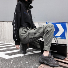 Womens hip-hop beaming overalls street fashion loose wild multi-pocket pants army green cotton Ankle length