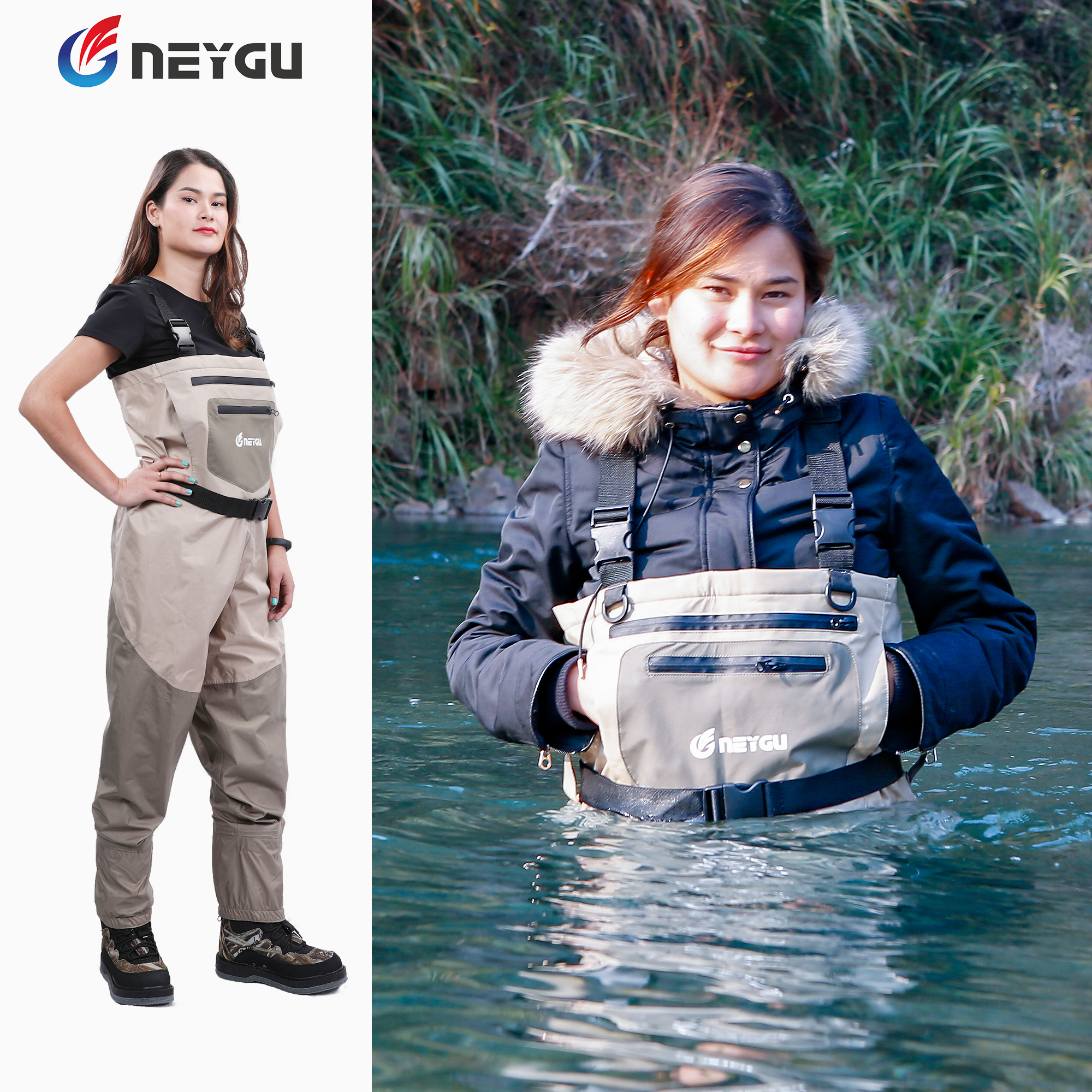 NEYGU Outdoor Waterproof&windproof&breathable Fly Fishing Chest Wader,for Hunting,rafting,swamp Or Muddy  Hiking