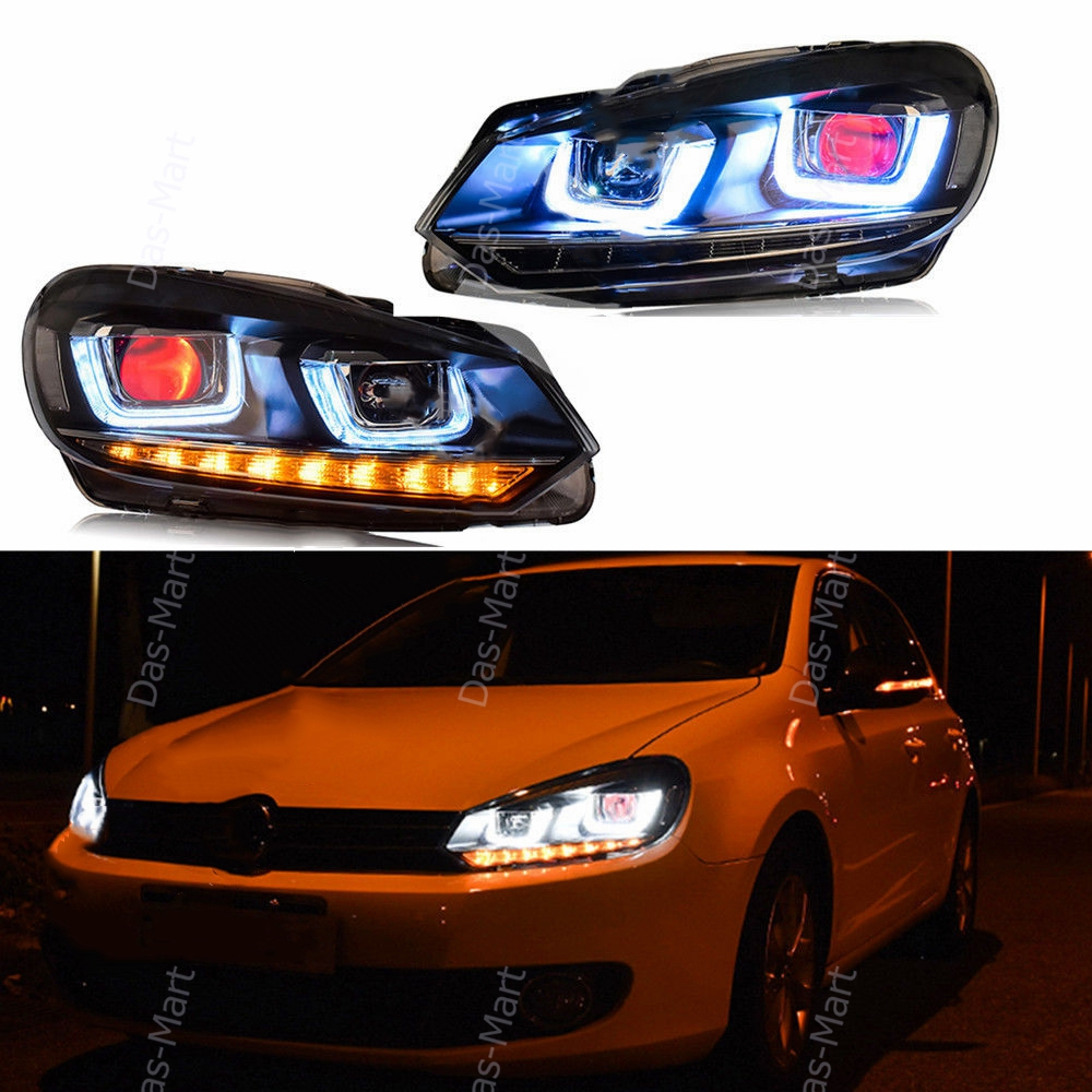 LED DRL Headlights For VW VOLKSWAGEN Golf 6 GTI MK6 2010-2014 With Demon Eyes