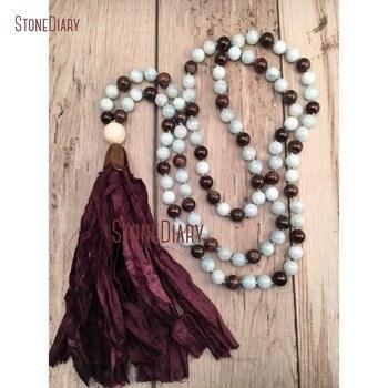 40 inch Long 108 Mala Beads Aquamarines and Garnet Hand Knotted Beads Silk Sari Tassel Bohemian Jewelry NM11115