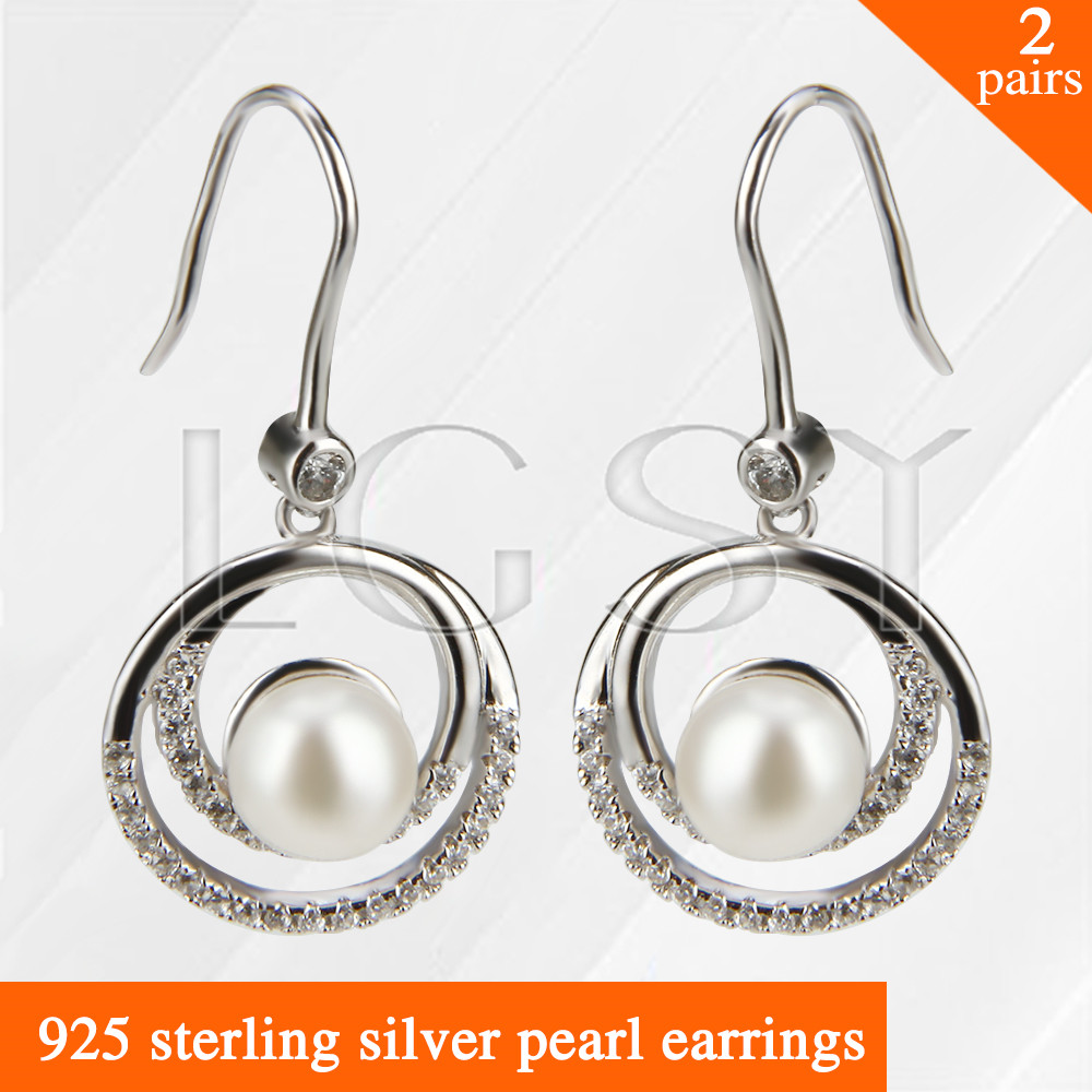 LGSY 2pairs Fashion nice design 925 sterling silver girl jewelry Twins round shape pearl earring hermosa jewelry hot multi color round design 925 sterling silver fashion earring st81