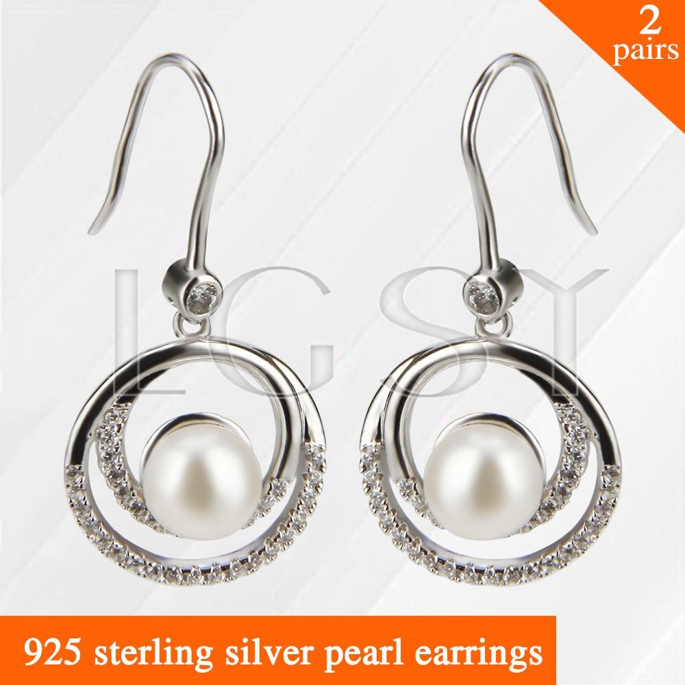 купить LGSY 2pairs Fashion nice design 925 sterling silver girl jewelry Twins round shape pearl earring по цене 3236.68 рублей