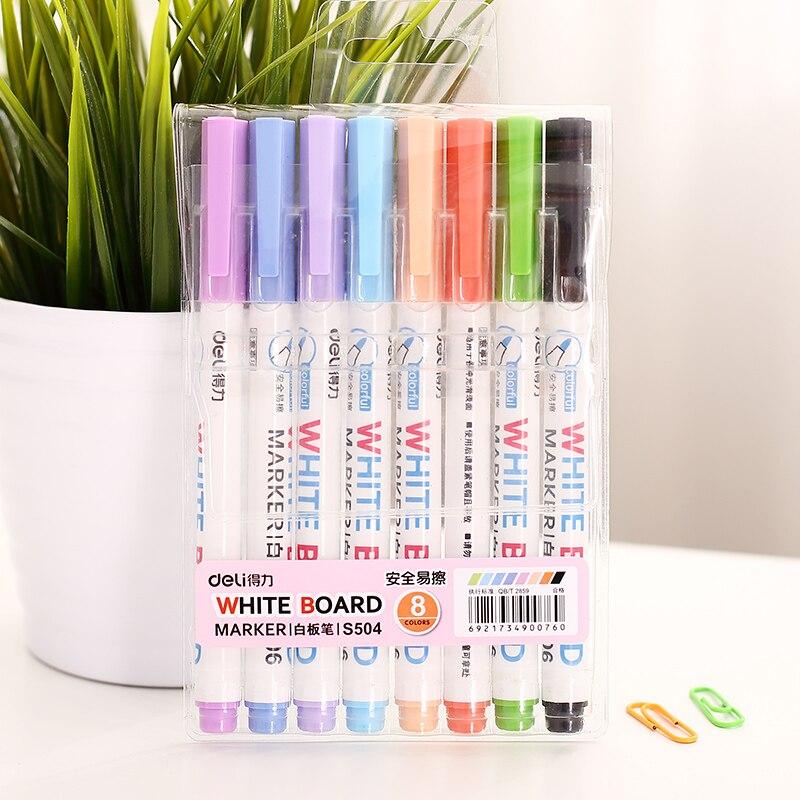 48 pcs lote 8 cor de caneta marcador de quadro branco quadro branco apagavel canetas de