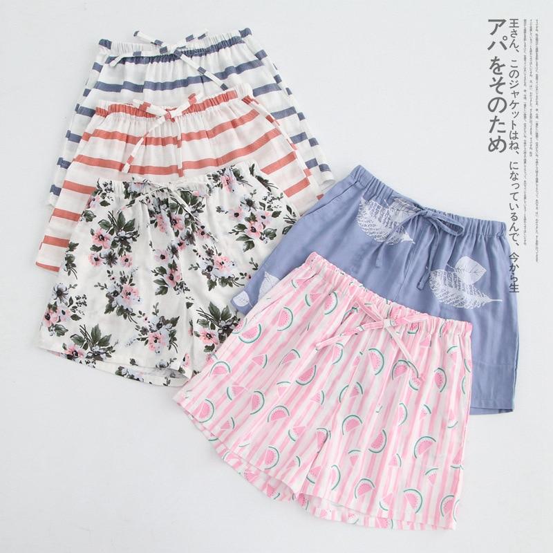 Multi Print Sleep Bottoms Shorts Cotton Linen Women Shorts Drawstring Elastic Waist Floral Striped Pajama Bottoms Pijamas B88895
