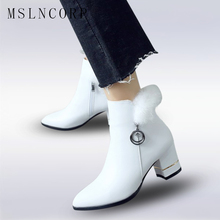 Size 34-43 Women Leather Winter Boots Zipper Ankle Boots Real Rabbit Hair High Heels Pointed Toe Fashion Winter chelsea Boots zorssar 2018 new arrival fashion women chelsea boots patent leather pointed toe high heels ankle boots winter women shoes