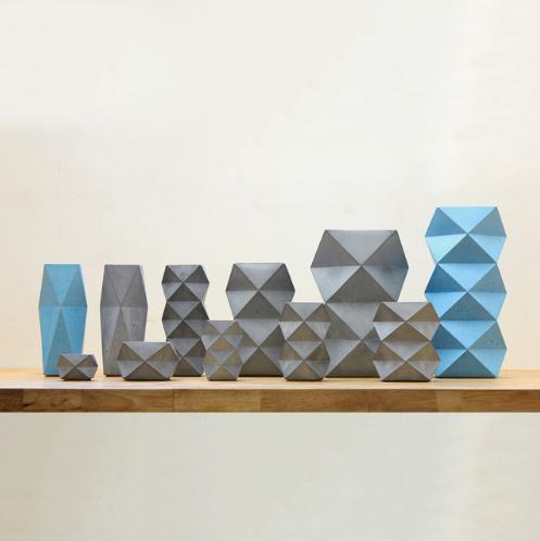 Silicone Concrete Cement 3D vase mold Geometric desk decoration pen holder flower planter new design vase