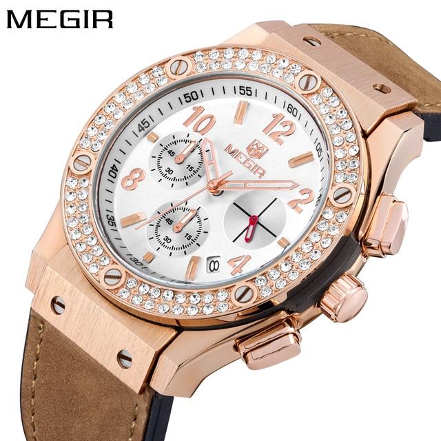 4e94d242c35 Megir Luxury Brand Design Ladies Watch Women Gold leather silicone Bracelet  rhinestone Crystal Diamond Quartz Watch Clock Women