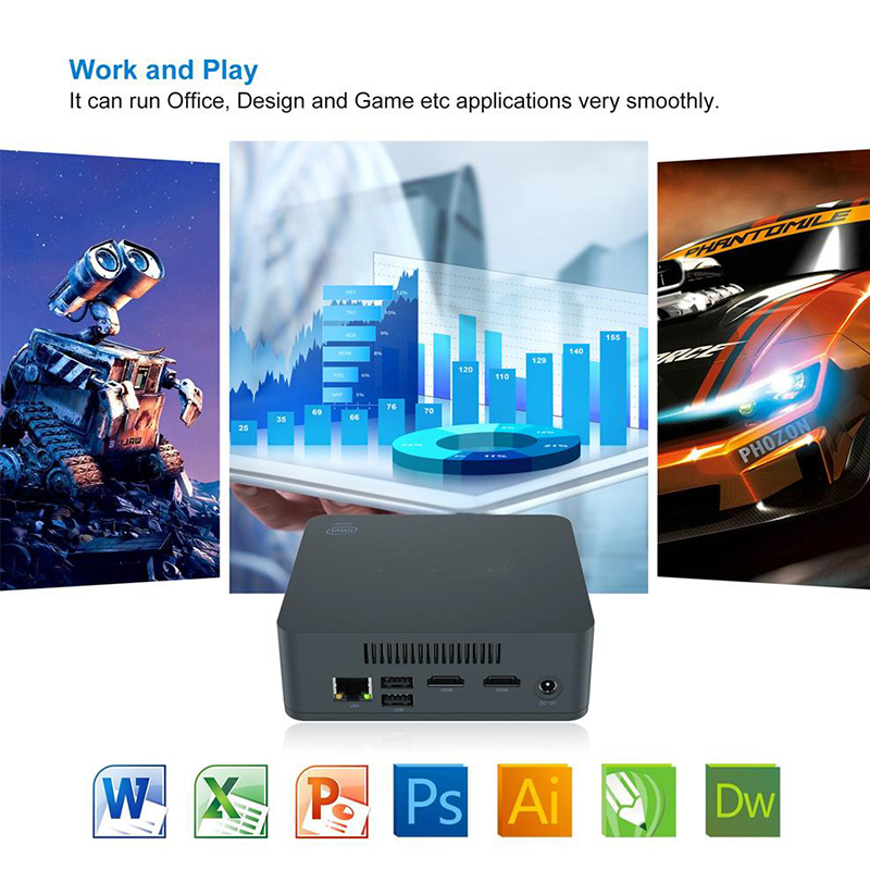 Mini PC i3-5005U 8GB RAM/256-512GB SSD VORKE U55