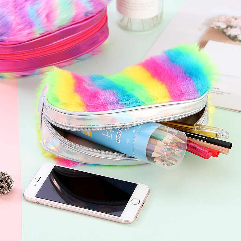 Kawaii Rainbow Fur Colorful Large Pencil Case For Women School Supplies Pen Pouch Stationery Gift Makeup Storage Cosmetic Bag
