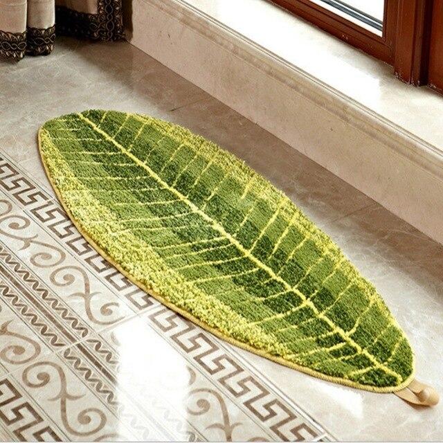 US $29.0  Komfortable Blatt Grünen Teppich Küche Teppiche Saugfähigen  rutschfesten Unterlage Tür Bad Fußmatten in Komfortable Blatt Grünen  Teppich ...