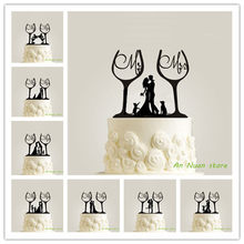 New Happy Family Wine Glass Cake TopperMr Mrs Topper Bride Groom Minnie