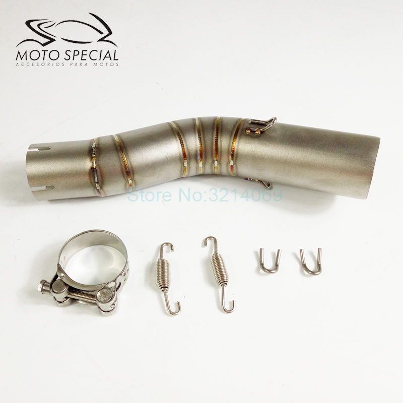 Motorcycle Exhaust Middle Pipe Stainless Steel Escape Moto Muffler Link Pipe Middle Section Adapter For GSXR 1000 motoo free shipping 61mm stainless steel universal escape moto motorcycle motorcross scooter exhaust pipe muffler