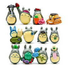 12 pcs/set Miyazaki My Neighbor Totoro Action Figure Toys Plastic PVC Doll Gardening Potted Decoration Toys For Birthday Gift
