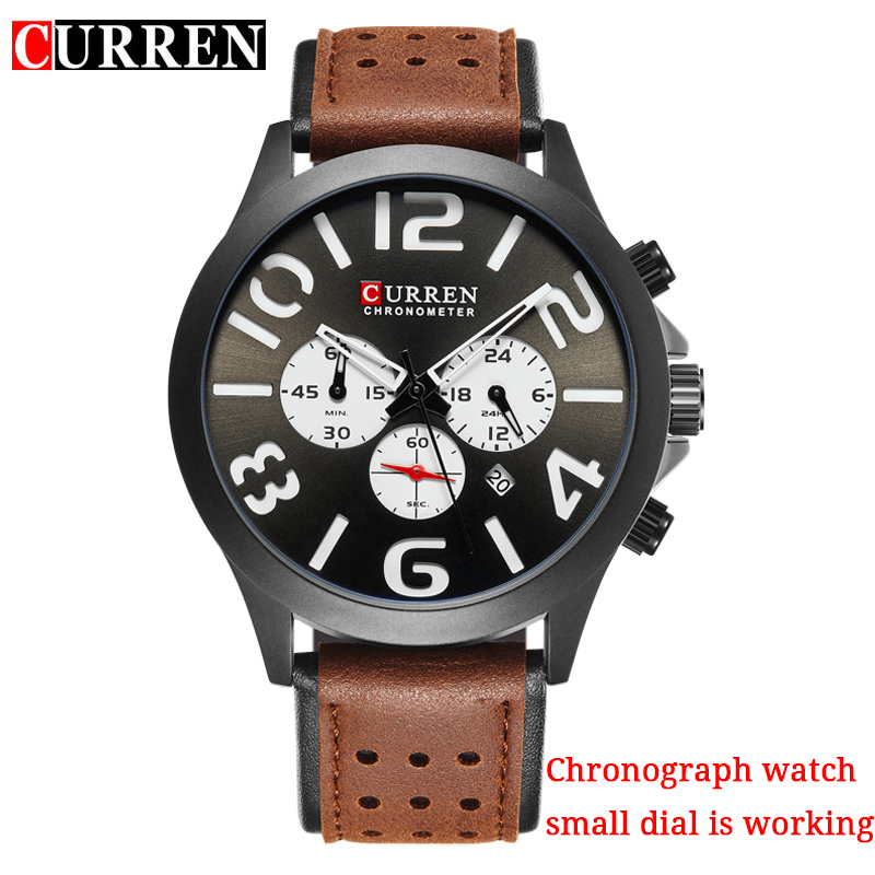 Curren Brand Men's Fashion Casual Sport Watches Men Waterproof Leather Quartz Watch Man military Clock Relogio Masculino 8244 ccq brand fashion men leather quartz watches casual business sport male clock waterproof military wrist watch relogio masculino