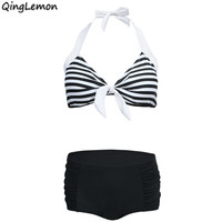 QingLemon Red Blue Black Stripe High Waist Bikini Sets Carnival Swimsuit Beachwear Two Pieces Bathing Suits