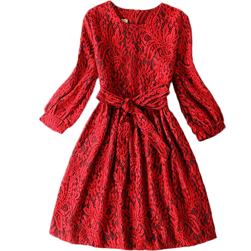 цены Girls dress Autumn/winter new girl party dress Kids Lace princess dress Teen girls clothing dress of girls size 13-20Y