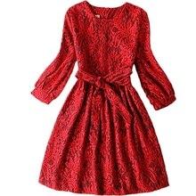 Filles robe Automne/hiver nouvelle fille partie robe Enfants Dentelle princesse robe Adolescent filles vêtements robe de filles taille 13-20Y