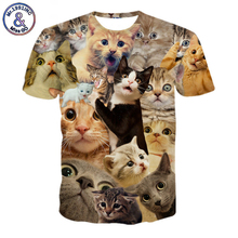 2017 NEW Surprised cats t-shirt fluffy cuddly terrified cat faces awesome t shirt women men 3d summer tee shirt