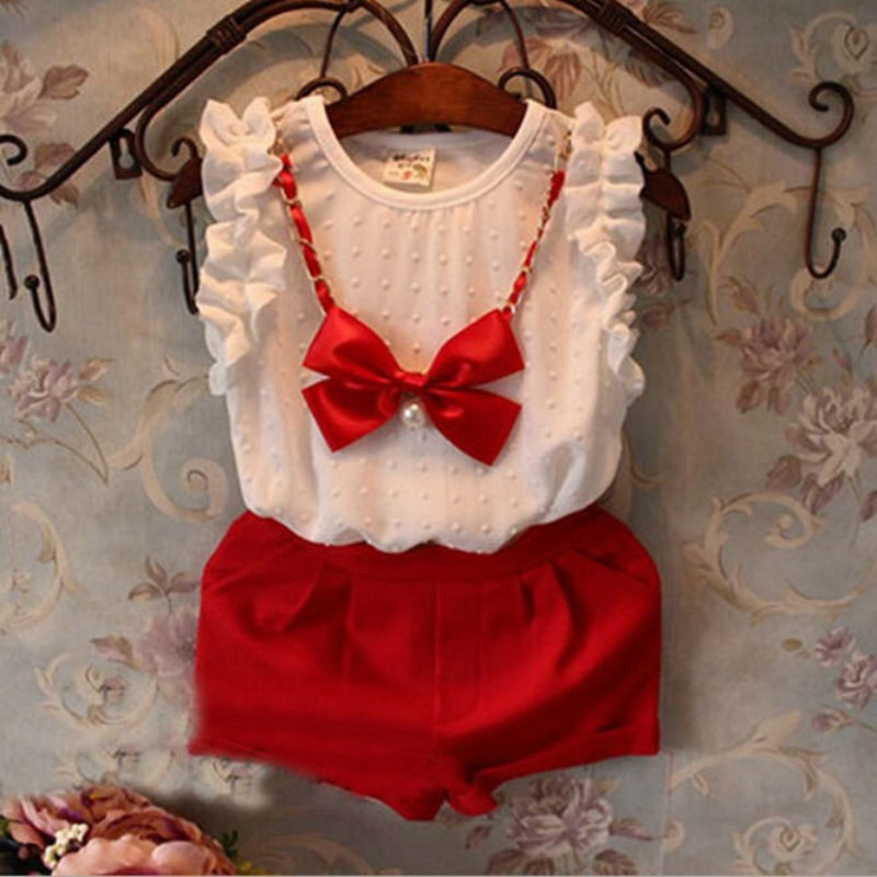 Cool Summer Fashion 3PCS Sleeveless White Chiffon Shirt Red Shorts Bow Necklace Outfits Baby Girls Clothing Set 0-5 red longline sleeveless check shirt with split hem