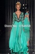 Abed Mahfouz Türkei Kaftan Langen Ärmeln V-ausschnitt Perlen Grüne Lange Abendkleider 2016 Neue Ankunft Chiffon Promkleider BO1831