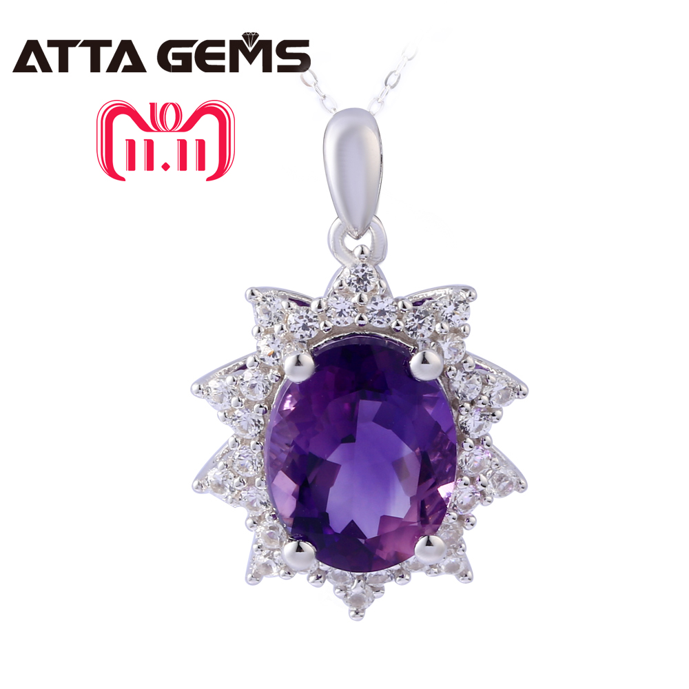 Natural Amethyst Sterling Silver Pendants Women Wedding Anniversary Gifts 3.25 Carats Natural Amethyst Clean Quality Romantic