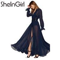 SheInGirl 2017 솔리드 블루 여성 드레스 깊은 V 넥 긴 소매 전면 분할 섹시한 Vestidos 라인 프릴 쉬어 우아한 맥시 드레