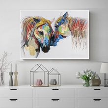Laeacco Watercolor Horse Wall Artwork Animal Posters and Prints Modern Canvas Painting Nordic Home Decoration Living Room Decor