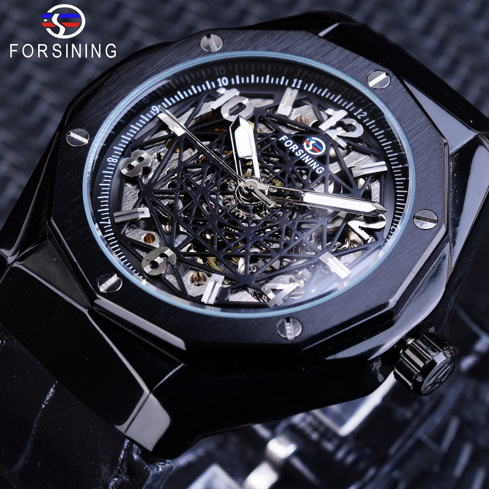 Forsining Black Leather Irregular Shape 3D Spider Web Dial Men Business Skeleton Automatic Watches Top Brand Luxury Waterproof недорго, оригинальная цена