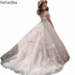 Butterfly New Kids Pageant Evening Gowns 2018 Lace Ball Gown Flower Girl Dresses For Weddings First Communion Dresses