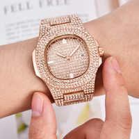 Hip Hop Bling Diamond Watch Men Rose Gold Stainless Steel Mens Quartz Wrist Watches Women Waterproof Relogio Masculino xfcs gift