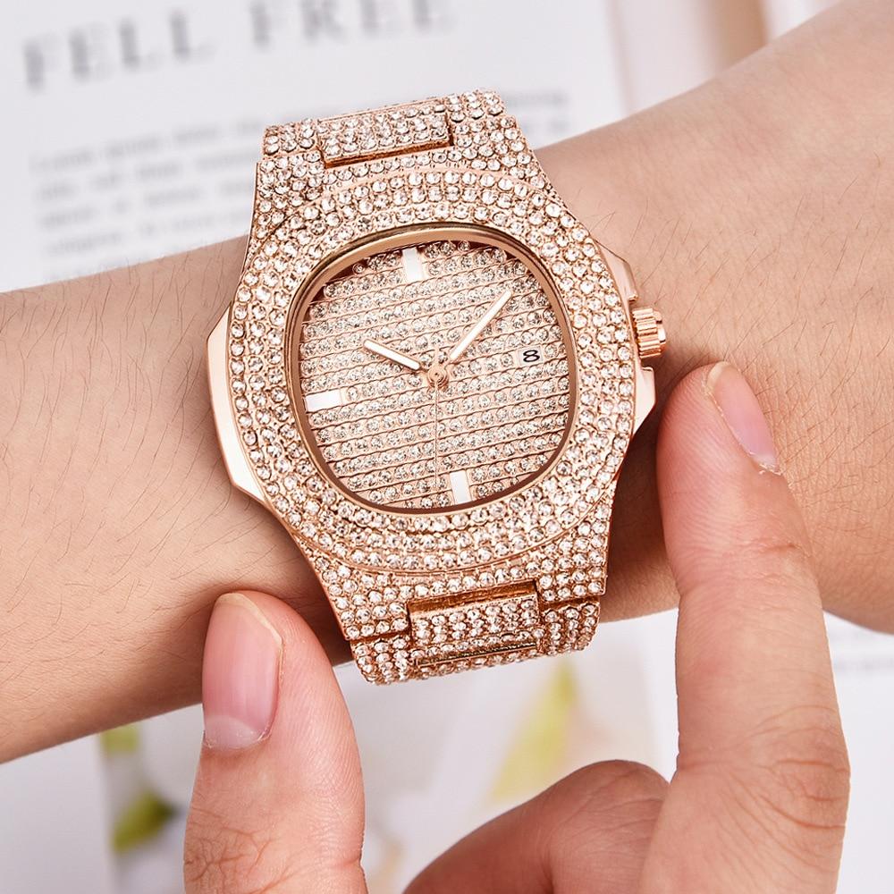 Luxury Hip Hop Bling Diamond Watch Men Rose Gold Stainless Steel Mens Quartz Wrist Watches Waterproof