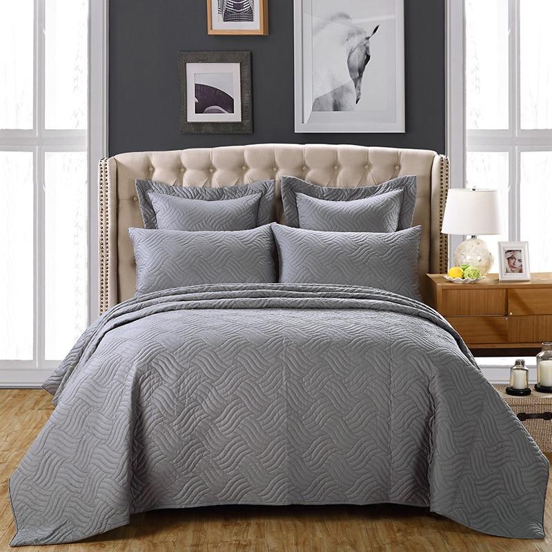 Gris housse de lit Couvre-lit lit king size Ensemble 100% dessus de lit en coton Couverture ensembles linge de lit Taie D'oreiller colchas par cama couvre lit éclairé