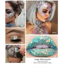 woman girls Eye Glitter Nail Hair Body Face Glitter Gel Art Flash Heart Loose Sequins Cream Festival Glitter Decoration Party(China)