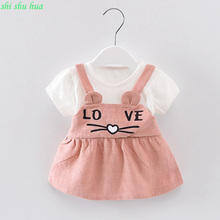 Baby Girl Summer Dress Cartoon Cat Print Fashion Short Sleeve Princess Dress 1-3 y Baby Birthday Party Fashion Dresses Hot sale
