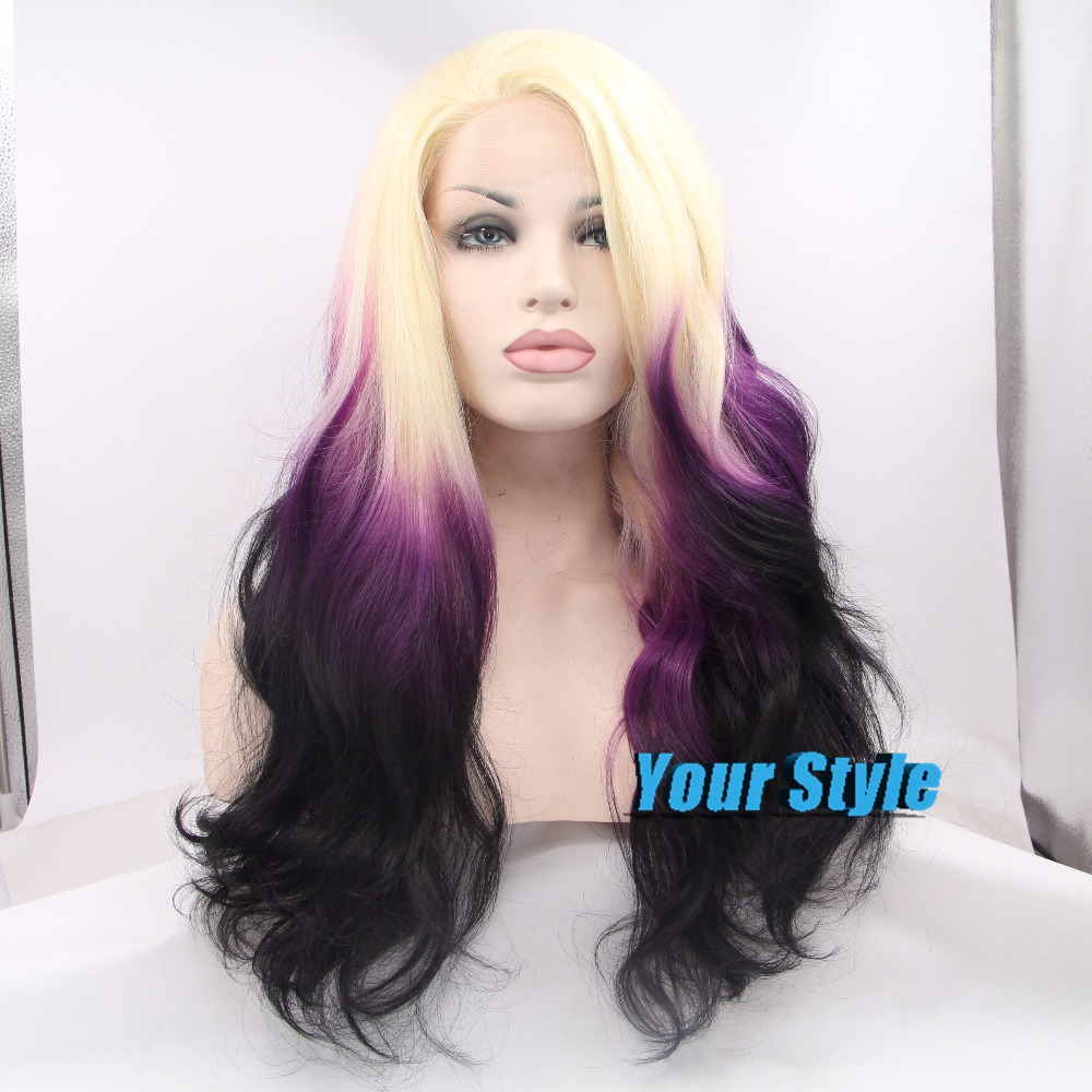 Three Tones Ombre Purple Black White Synthetic Lace Front