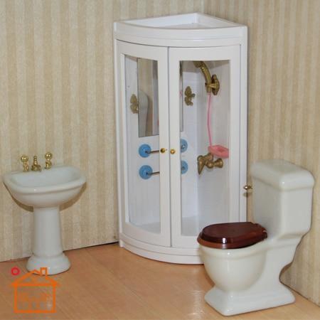 Handcraft  Dollhouse Wooden Bathroom Shower Room 1:12 Miniature Furniture Toy#K9