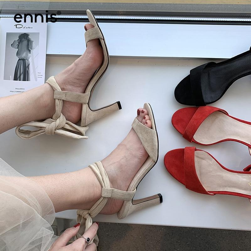 ENNIS 2019 ส้นสูง Gladiator รองเท้าแตะผู้หญิงหนังนิ่ม Sheepskin รองเท้าแตะ Lace Up สุภาพสตรีบางส้น Sndals สีแดงสีดำฤดูร้อนรองเท้า s957-ใน รองเท้าส้นสูง จาก รองเท้า บน   2