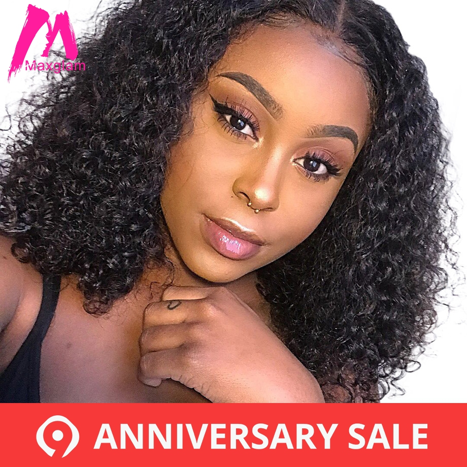 Curly Human Hair Wig Brazilian Short Bob Lace Front Human Hair Wigs For Black Women Full and Thick Free Shipping Maxglam(China)