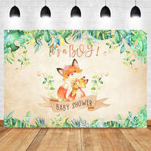 Its a Boy Baby Shower Photography Backdrops Cute Fox Animal Backdrop Green Leaves Dessert Table  Photo Backgeound
